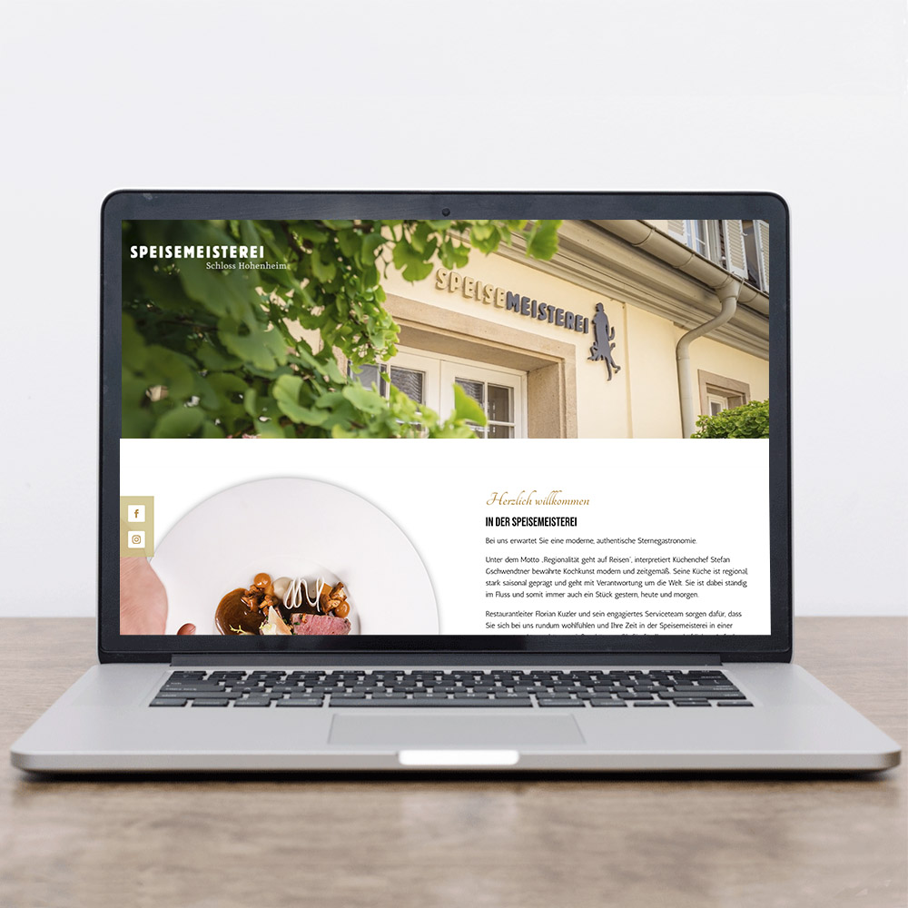 Das Bild zeigt einen Laptop mit der neuen Website der Speisemeisterei Stuttgart.
