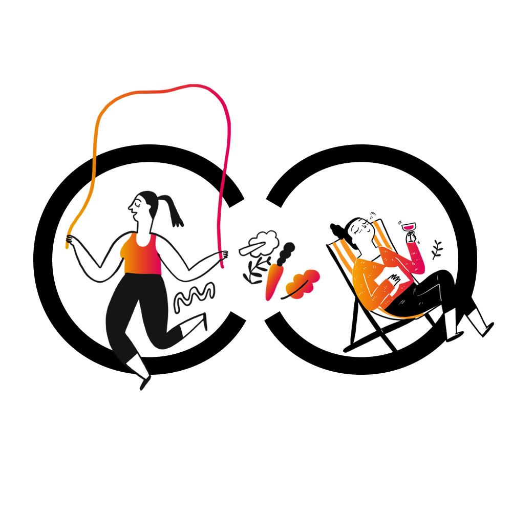 Mit Klick auf dieses Bild sehen Sie das neue Logo für die Convensis Gesundheitswochen mit zwei zueinander gedrehten Cs auf deren linken Seite eine illustrierte Frau Seil springt und auf der rechten Seite eine illustrierte Frau, die im Liegestuhl liegt.
